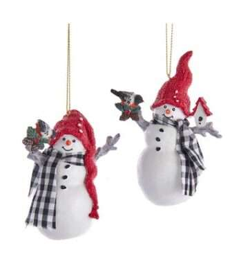 Gingham Holiday Snowman Ornaments, 2 Assorted