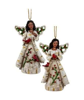 African American Birch Berry Angel Ornaments