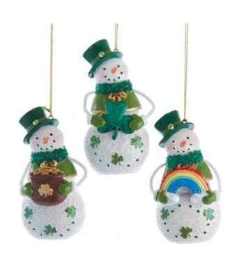 Irish Glittered Snowman Ornaments, 3 Assorted