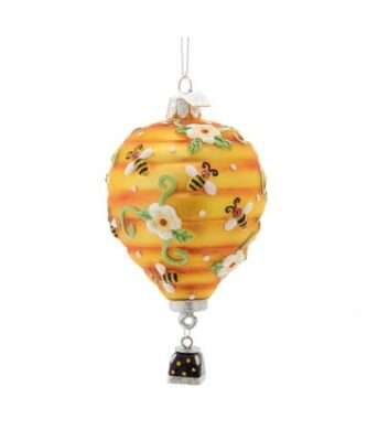 Hot Air Balloon With Bees Glass Ornament