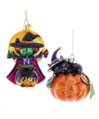 Witch and Pumpkin Glass Ornaments, 2 Assorted