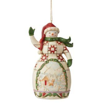 Red & Green Snowman Ornament Jim Shore Heartwood Creek