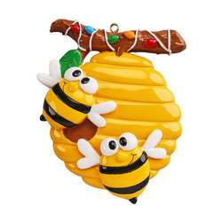 Honey bee decorated hive ornament personalize